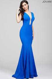 royal blue floor length trumpet gown with plunging neckline