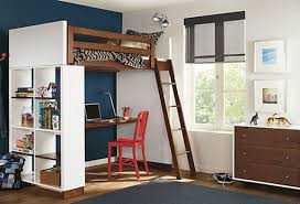 simple brown white wooden teen loft bed with book rack base 728x496 jpg