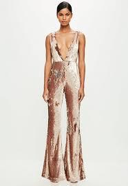 sequined jumpsuit peace gold sequin jumpsuit missguided