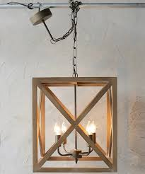 Square Chandelier Wood And Metal Square Chandelier Antique Farmhouse