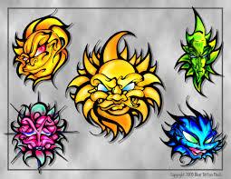 sun tattoo flash sheet by beejaydel on deviantart