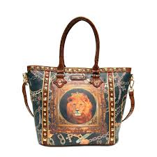 lion print golden lion print tote bag