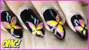 colourful butterfly nail art designs with bead youtube