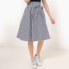 knee length skirt gingham knee length skirt with bow blue gingham check mademoiselle