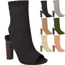 womens boots block heel womens ankle boots knitted stretch block heels peep