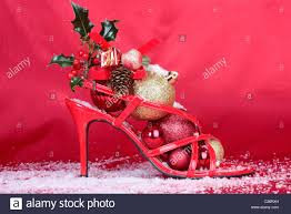 christmas decorations high heel shoes stock photo royalty free