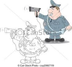 vector clip art of traffic policeman with a radar fat traffic