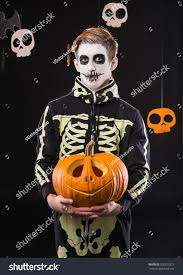 black suit halloween portrait man suit holding halloween orange stock photo 326223272