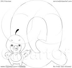 clipart outlined q is for quail coloring page royalty free