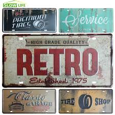 Vintage Wholesale Home Decor 2017 Wholesale Retro Garage Car Metal License Plate Vintage Home