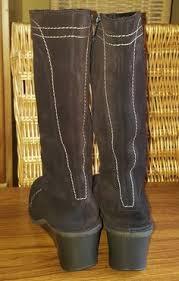 womens cowboy boots ebay uk vintage wrangler leather brown mid calf cus boho