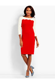 scalloped colorblock ponte shift dress talbots