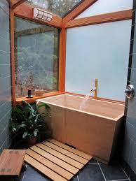 Japanese Bathroom Ideas Bathroom Brown Tile Freestanding Bathtub Mirror Bathroom Plant