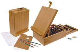 104 piece art easel set including oil acrylic and watercolour