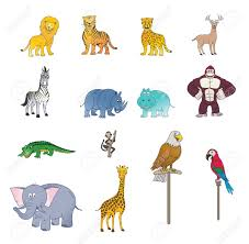set of wild animal color royalty free cliparts vectors and stock
