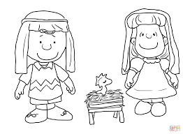 charlie brown christmas nativity coloring free printable