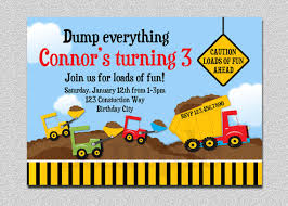 truck birthday party construction birthday invitation boys truck birthday party