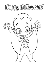 halloween little funny vampire coloring page for kids printable