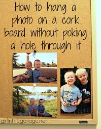 how to hang a photo on a cork board without poking a hole through