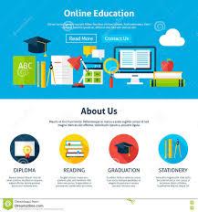 design online education online education flat web design template stock vector