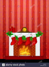 leaves clock fireplace stove christmas stockings holly stock