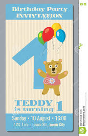 Invitation Card Of Birthday Party Birthday Party Invitation Card With Cute Bear Vector Template 1