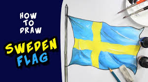 how to draw sweden flag drawing for kids youtube