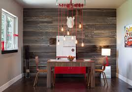 wood accent wall dining room