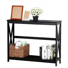 Accent Living Room Tables Amazon Com Topeakmart 2 Tier Large Black Console Table X Design