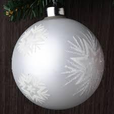 set of 12 white glitter glass ornaments robertson