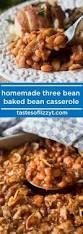 homemade three bean baked beans casserole with bacon