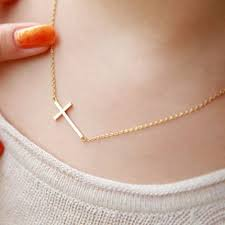 necklace for sweet simple design cross pendant necklace for women golden sweet