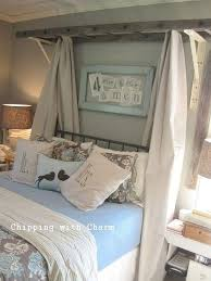 Diy Canopy Bed With Lights Ladder Above Headboard To Frame Bed And Add Drapes And Twinkle