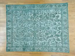9 5 u0027 x 12 5 u0027 light green overdyed persian tabriz barjasta handmade