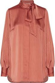 malene birger sale aluda bow striped satin top by malene birger sale up to