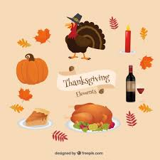 collection of items and thanksgiving food vector free