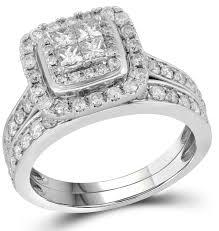 Gold Diamond Wedding Ring Sets by 14k White Gold Princess Diamond Bridal Ring Set 1 40 Ct