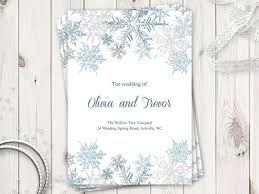 christmas wedding programs winter wedding program template snowflakes silver printable