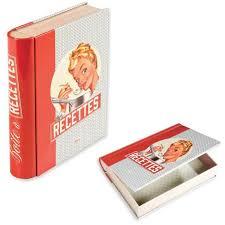 livre cuisine original boîte à recettes de cuisine ma popote en métal en forme de livre
