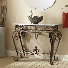 vanna wrought iron console vanity for vessel sink with marble top