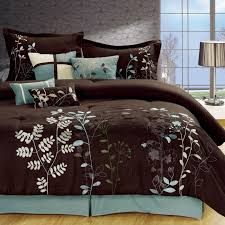 Light Blue Twin Comforter Light Blue And Brown Bedding Bliss Garden 8 Piece Brown