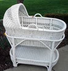 Pottery Barn Wicker Silver Bassinet