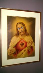 Googly Eyes Meme - apparently putting googly eyes on the portrait of jesus my parents