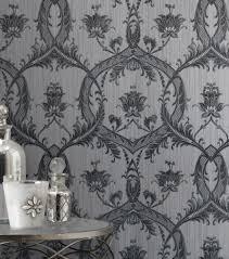 fine decor m95565 milano glitter damask wallpaper black silver