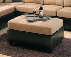 Microfiber Ottomans Ottoman In Microfiber And Brown Faux Leather By Coaster
