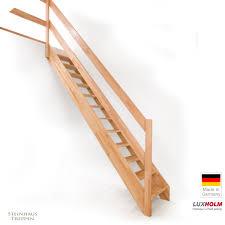 steinhaus treppen holztreppe mit einseitigem geländer bausatztreppe massivholz