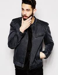 biker jacket men asos denim biker jacket with quilted shoulder in black for men lyst