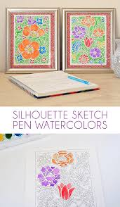 silhouette sketch pen tutorial watercolor flowers dream a