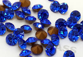 sapphire blue foiled chatons eimass point back crystals