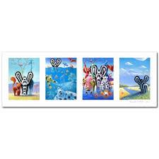 tableau chambre enfants tableau panoramique animaux série bleue titou chambre enfant bébé